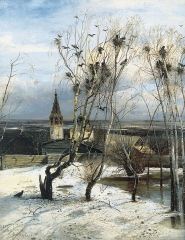 The Rooks Have Come Back was painted by Savrasov near Ipatiev Monastery in Kostroma