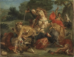 Delacroix, Lion hunt 1855
