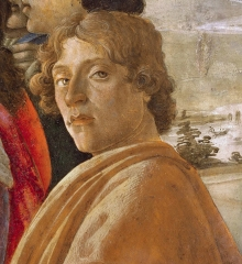 Probable self-portrait of Botticelli, in his Adoration of the Magi (1475)