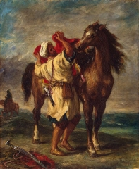 Moroccan Saddles His Horse,1855,