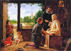 A painting by Wallis depicting Gerard Johnson carving Shakespeare's funerary monument.