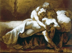 The Kiss, charcoal, sepia wash and white gouache on paper, ca. 1822