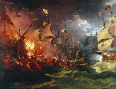 Defeat of the Spanish Armada, 1588-08-08 by Philip James de Loutherbourg, painted 1796