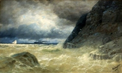 Seascape with a steamer (1886)