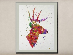 Watercolor Painting-Original Fine Art-Unique Art print Gift-Home Wall Decor Artwork-Deer-A02