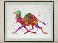Watercolor Painting-Original Fine Art-Unique Art print Gift-Home Wall Decor Artwork-Running Camel-A01