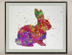 Watercolor Painting-Original Fine Art-Unique Art print Gift-Home Wall Decor Artwork-Rabbit-A09